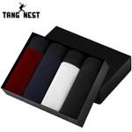 4 Pieces Suitable Men Underwear Fashion Solid Color Boxer Shorts Male Random Color