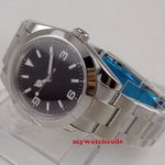 40mm bliger sterile black dial luminous solid case sapphire glass automatic mens watch B156