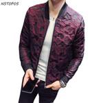Autumn New Jacquard Bomber Jackets Men Luxury Wine Red Black Grey Party Jacket Outfit Club Bar Coat Men Casaca Hombre 4XL