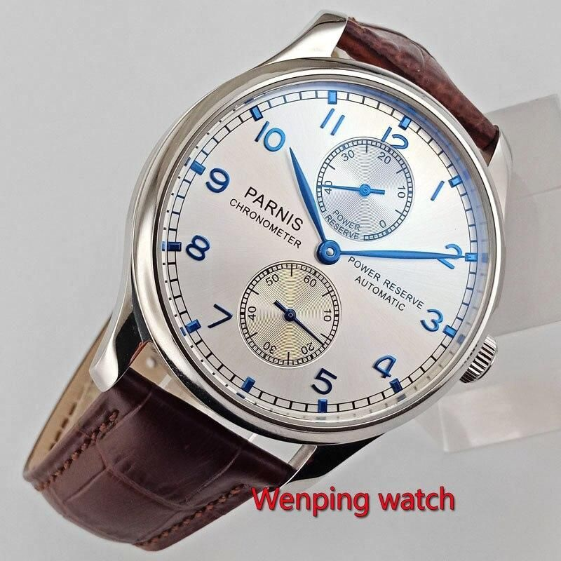 43mm Parnis silver white dial power reserve Luxury Brand Genuine Leather clasp automatic movement mens watch W117