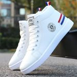 Autumn Winter Boots Men White High-top Winter Shoes Men Hip hop Casual Shoes Fashion Lace-up Waterproof Leather Ankle Boots