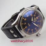 47mm corgeut Black Dial Luminous Hands 6497 Hand Winding movement men's Watch