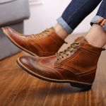 Autumn NEW Men Boots Big Size 38-47 Vintage Brogue College Style Men Shoes Casual Fashion Lace-up Warm Boots For Man Brown