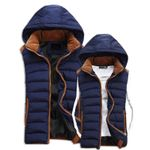Autumn Winter Casual Hooded Loose Warm Men Vest Jacket
