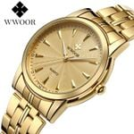 28-Gold New Authentic Brand Stainless Steel Belt Waterproof Casual Simple Gold Gift Watch Business Quartz Official Men's Watch