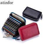 2pcs/lot Wholesale Genuine Leather RFID Blocking Small Wallets Women Mini Cute Purse Lady by 12 Card Slot and Tracking Number