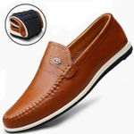 Autumn Men Genuine Leather Flat Business Casual Shoes Classic Official Loafers Soft Moccasins Male Breathable Driving Shoes