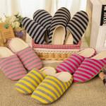 Autumn Winter Coral Velvet Slipper Housewarming Soft Slippers Home Indoor Cotton Striped Floor Plush Shoes For Men Unisex