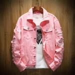 Autumn New Men's Jean Jacket Slim Fit Cotton Denim Jacket Red White Black Ripped Hole Jean Coats Men Cowboy Youth Men 5XL