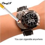 5Pcs/Lot Ligter Watch Windproof Casual Military Quartz Watch USB Cigarette Cigar Flameless Lighter Men Women Wristwatches 48