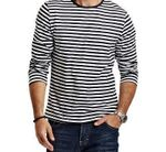 Autumn Casual Striped T Shirt Men  Long Sleeve Men's T ShirtS  Slim Fit Mens Clothes Trend  Tops Tees