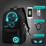 Anti-theft Nightlight School Bags USB Charging Men Luminous Backpacks Mochila Fashion Anime Cartoon Student School Backpack