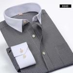 Autumn Men Striped Dress Shirts Fashion Long Sleeve Regular Fit  White Collar Social Business Men Casual Shirt