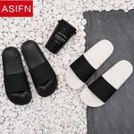 ASIFN Men Slides Non-slip Male Slippers Man Flip Flops Summer Beach Women Home Bathroom Sandals Soft Outdoor 4 Style Black White