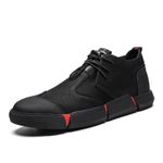 All Black Men's Leather Casual Shoes NEW Brand High Quality Fashion Breathable Sneakers Fashion Flats Men