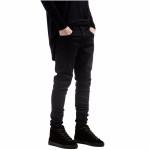 All black Slim Fit straight solid color High street biker jeans