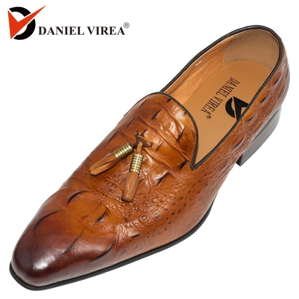 Autumn Winter Men Casual Loafers Office Luxury Brand Leopard Print Brown Formal Alligator Genuine Leather Slip-on Dress Shoes