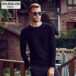autumn winter Men cotton knitted pullover Sweaters o-neck Solid Black clothes casual Clothing