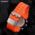 BOAMIGO F502 Sports Watches Men Chronograph Waterproof Digital Wristwatches Military LED Analog Rubber Strap Male Clock