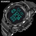 BOAMIGO shock Men Digital Sports Military Watches Led Swim 100m Waterproof pedometer calorie man smart watch Relogios Masculino