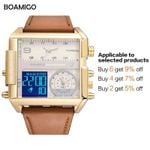 BOAMIGO Top Luxury Brand Me Sports Watches Man Military chronograph digital Watch Leather Quartz Wristwatches Relogio Masculino