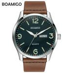 boamigo top luxury brand men military fashion sport business quartz watch man casual brown leather wristwatches waterproof