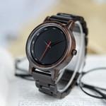 BOBO BIRD All Ebony Wooden Watch Simple Black Quartz Men Wristwatch in Wooden Gift Box