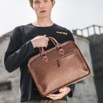 Brand Crazy Horse PU Leather Men Briefcase Vintage 14 inch Big Business Laptop Handbag Fashion Brown Messenger Shoulder Bag Man