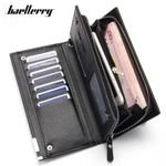 Baellerry Many Departments Men Wallets Leather Long Card Holder Cell Phone Pocket Wristband Man Purse Brand Male Wallet Carteira