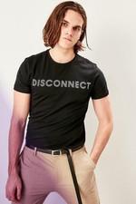 Black Men Slim Fit Printed T shirts TMNSS19BO0032