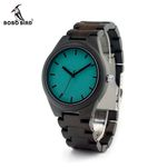 BOBO BIRD CdI21 Ebony Wooden Mens Watch With Luxury Tches Movement Quartz Blue Dial Plate As Gift For Men Relogio