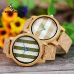 BOBO BIRD Cloth Dialplate Bamboo Wood Watch for Men Leather Strap Japan Quartz Wood Watches Women as Fashion Accessories