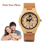 BOBO BIRD Creative Gift Wood Watch Men Women Photos UV Printing on Wooden Watch OEM Customized Gift