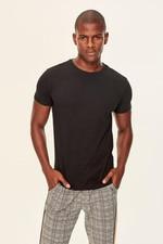 Black Men's T Shirt Presser   Cotton Neck Short Sleeve TMNSS19BO0001