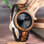 BOBO BIRD D30-1 Two-tone Zebra Wood & Ebony Wooden Watches Luminous Hands Quartz Wristwatch for Men in wooden Gift Box