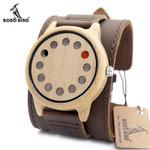 BOBO BIRD Eco-friendly Wooden Wristwatch Mens Top Luxury Brand Unique Holes Design Leather Quartz Watch with Leather Strap