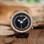 BOBO BIRD Fashion Design Zebra Wooden Watch Men Dual Disply Manufacturer Male Wristwatch relogio masculino B-P02-3