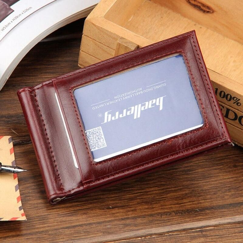 baellerry Mini Men's Leather Money Clip Wallet With Coin Pocket Thin Purse For Man Magnet Hasp Small Zipper Money Bag