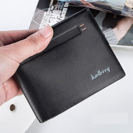 Baellerry Quality Leather Men Wallets Business Short 3 Fold Purse Credit Card Holders Wallet Men Clip Money Bag Male Clutch W098