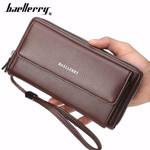 Baellerry PU Leather Men Clutch Wallets Zipper Large Capacity Hand Strap Men Wallet Luxurious Business Solid Male Purses