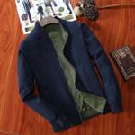 Bomber Jacket Men Pilot with Patches Green Both Side Wear Pilot Jacket Men Casual Slim Men Jacket Solid Male Outwear Windbreaker