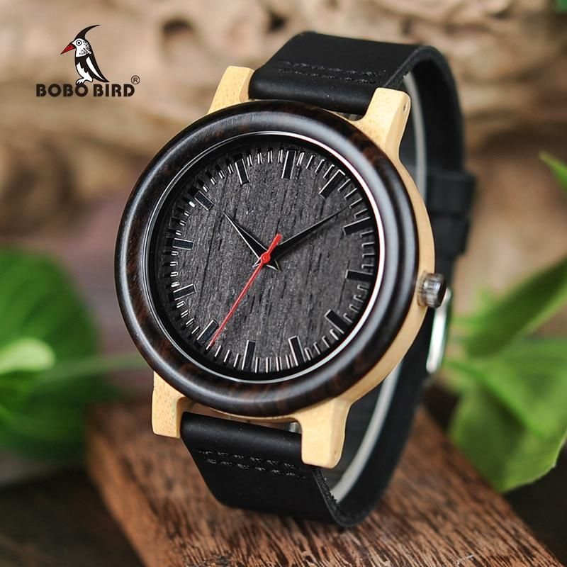 BOBO BIRD M13M14 Wenge Wood Bamboo Watches for Men Simple Design Quartz Wristwatch in Wooden Gift Box