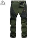 Autumn winter outwear soft shell men windproof waterproof pants fleece warm Stitching men 's Work Trousers