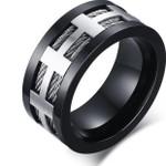 Black Punk Men Ring Wide Fashion Stainless Steel Cross Charm Wedding Rings for Men