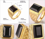 Black Punk Wedding Rings Gold-Color Retro Ring Black Stone Men Rings