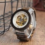 BOBO BIRD Mens Automatic Mechanical Watch Classic Style Luxury Analog Wristwatch Wooden With Steel in Gift Wooden Box