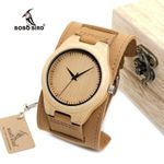 BOBO BIRD Mens Bamboo Wood Watches Chicago Bracelets Detachable Wide Soft Leather Band Straps with Gift Box OEM DropShipping