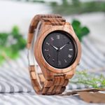 BOBO BIRD Mens Watches Timepieces Top Brand Luxury Watch All Zebra Wood Quartz Wristwatches for Male as Gift V-M30