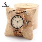 BOBO BIRD Mens Zebrawood Wooden Watches with Wood Strap Quartz Analog with Quality Miyota Movement Tri-Fold Clasp