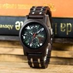 BOBO BIRD Military Men Watch Chronograph Wristwatch Wood Camouflage Dial Metal Wooden Band Relogio Masculino J-R17